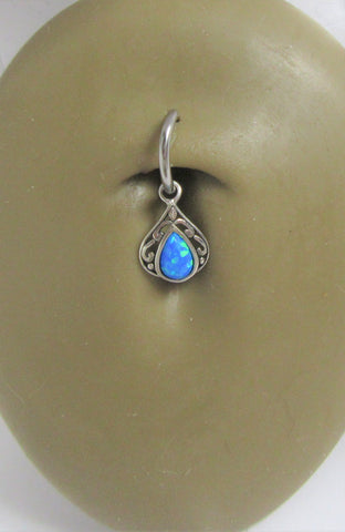 Sterling Silver Seamless Filigree Blue Opal Belly Hoop Ring Jewelry 16 gauge 16G