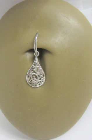 Sterling Silver Seamless Filigree Flower Drop Belly Hoop Ring Jewelry 16 gauge 16G
