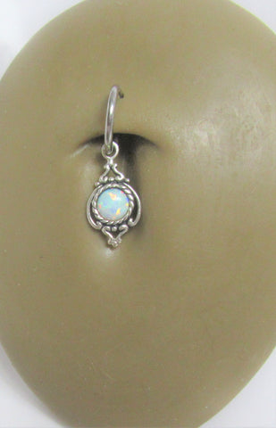 Sterling Silver Seamless Filigree White Opal Belly Hoop Ring Jewelry 16 gauge 16G