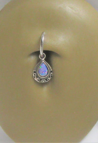 Sterling Silver Filigree Mauve Opal Dangle Hoop Belly Navel Ring 16 gauge 16g