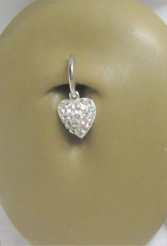 Sterling Silver Gem Puffed Heart Dangle Hoop Belly Navel Ring 16 gauge 16g