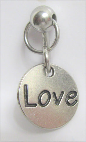Love Heart Charm Dangle VCH Vertical Clitoral Clit Hood Bar Post Ring 14g