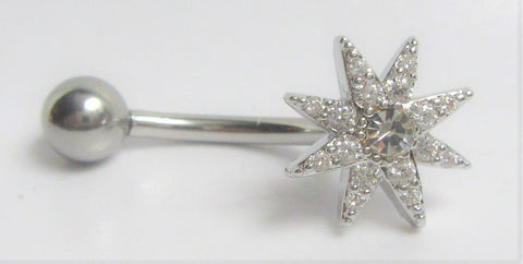 Surgical Steel Marcasite Gem Flower Internally Threaded VCH Vertical Clitoral Post Curved Bar 14G