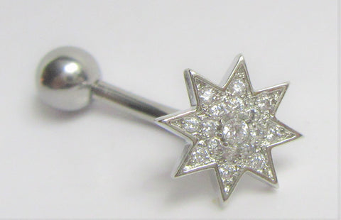 Surgical Steel Marcasite Gem Star Internally Threaded VCH Vertical Clitoral Post Curved Bar 14G