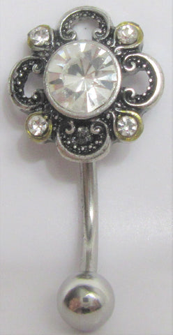 Clear Ornate Crystal Flower VCH Vertical Clitoral Clit Hood Bar Post Ring 14g