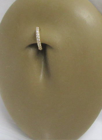 14K Yellow Gold Seamless Clear Gem Crystal Line Small Belly Hoop 16 gauge 16G
