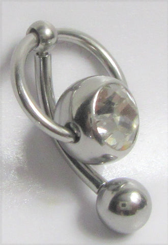 Surgical Steel Clear Gem Crystal Ball Internally Threaded Hoop Dangle VCH Vertical Clitoral Hoop Post Curved Bar 14G