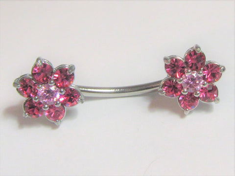 Surgical Steel Pink Crystal CZ Flower Nipple Curved Barbell Ring Jewelry 14g