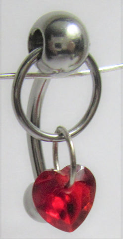 Surgical Steel Red Heart Hoop Dangle VCH Vertical Clitoral Clit Hood 14g