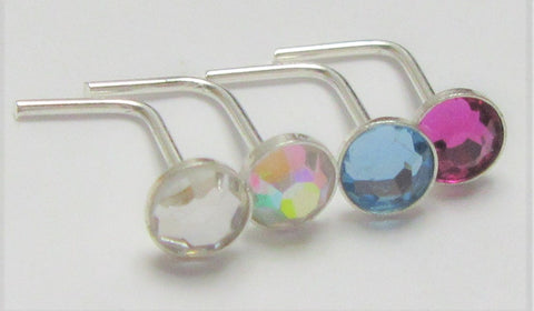 4 Pc Sterling Silver Big Flat Gem Crystal Nose Studs L Shape Posts Pins 22g