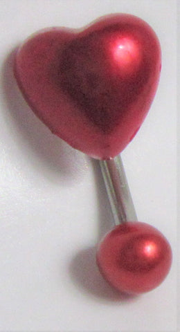 Red Faux Pearl Heart Curved Barbell VCH Clit Clitoral Hood Ring 14 gauge 14g