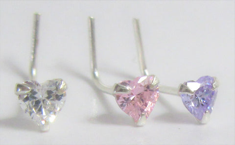 Sterling Silver Crystal Heart Nose Rings Pins L Shape Bent Studs Post 22 gauge 22g