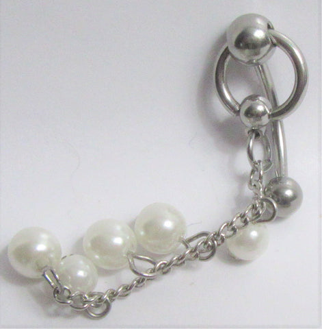 White Pearl Hoop Dangle VCH Vertical Clit Clitoral Hood Ring 14 gauge 14g