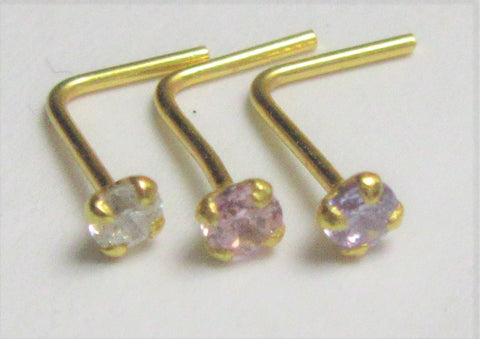 18k Gold 2mm Pink Purple Clear CZ Nose Stud Earring Straight Pin Post L Shape 22