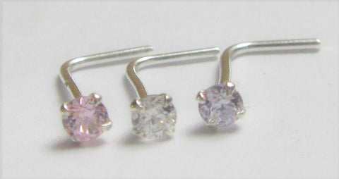 Sterling Silver Pink Purple Clear 2mm Crystal Nose Rings Pins L Shape Bent Studs Post 22 gauge 22g