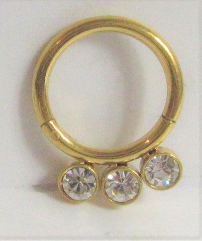 18K Gold Plated 8 mm Triple Crystal Hinged Seamless Cartilage Daith Hoop 16 gauge