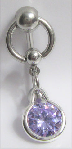 Purple Faceted Bezel Gem Hoop Dangle Barbell VCH Clitoral Clit Hood Bar Ring 14G