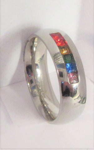Size 7 Stainless Surgical Steel Mosaic Ring  / 6mm Width