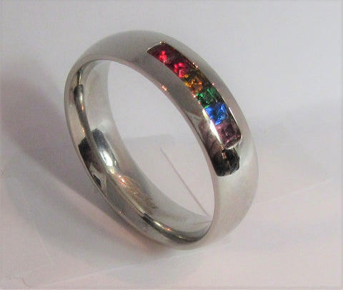 Size 10 Stainless Surgical Steel Mosaic Ring  / 6mm Width