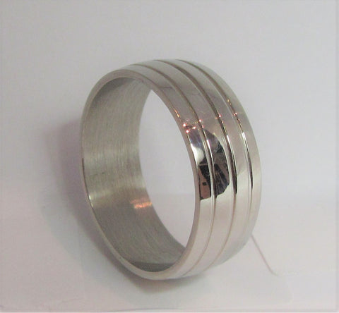 Size 6 Stainless Surgical Steel Mosaic Ring  / 7.5mm Width