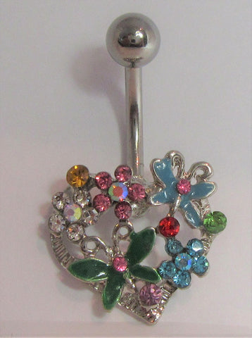 Surgical Steel Heart Butterfly and Flowers Belly Ring 14 gauge