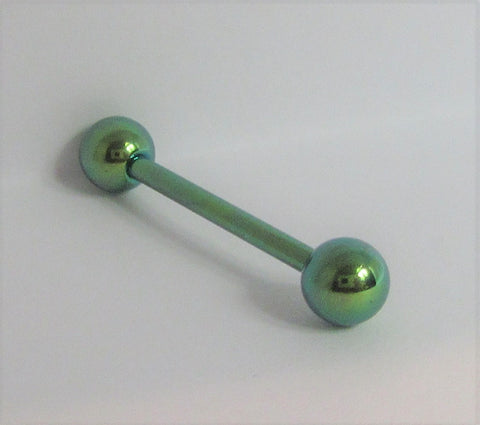 Green Titanium Straight Barbell 14 gauge 5/8 inch long