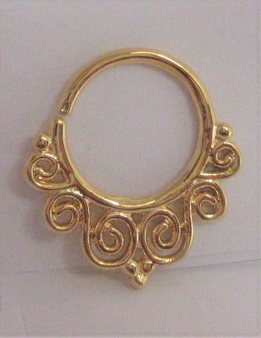 18k Gold Plated Filigree Seamless Hoop Septum, Daith, Helix 16 gauge