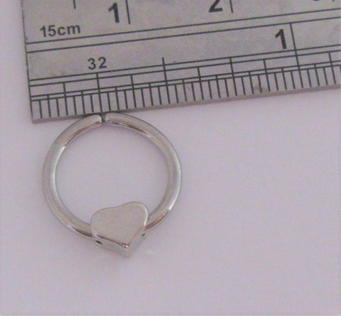 Surgical Steel Seamless Heart Dangle Hoop Septum, Daith, Helix 16 gauge