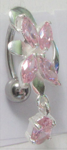 Surgical Steel VCH Jewelry Hood Christina Crystal Gem Oval Drop Flower Dangle Barbell 14 gauge 14g