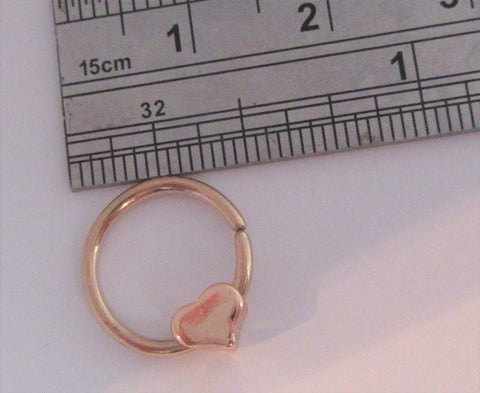 18k Rose Gold over Surgical Steel Seamless Heart Dangle Hoop Septum, Daith, Helix 16 gauge