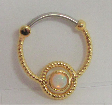 18k Gold over Surgical Steel White Opal Hoop Septum, Daith, Helix 16 gauge