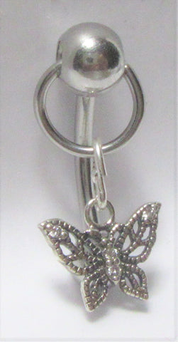 Butterfly Ornate Dangle VCH Vertical Clitoral Clit Hood Bar Post Ring 14g