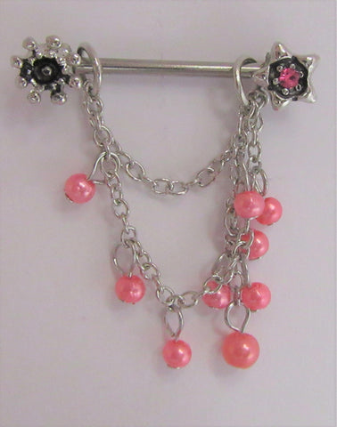 Surgical Steel Pink Pearl Dangle Nipple Hoop Shield Barbell Ring 14 gauge 14g