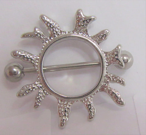 Surgical Steel Sun Burst Nipple Hoop Shield Barbell Ring 14 gauge 14g