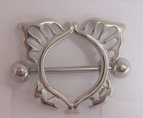 Surgical Steel Ornate Butterfly Nipple Hoop Shield Barbell Ring 14 gauge 14g