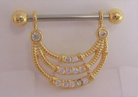 18k Gold Plated Triple Loop Crystal Drop Nipple Hoop Shield Barbell 14 gauge
