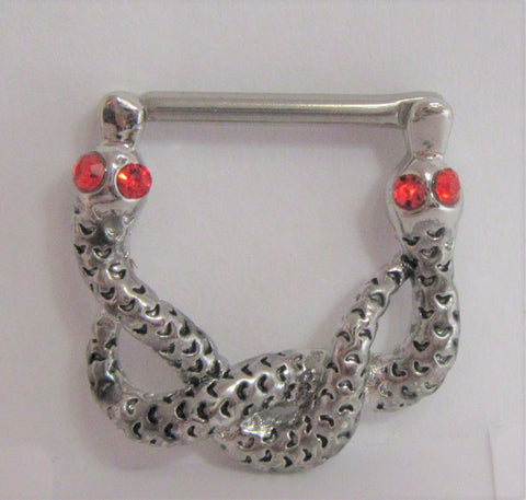 Surgical Steel Red Eye Crystal Snake Nipple Hoop Shield Barbell 14 gauge 14g
