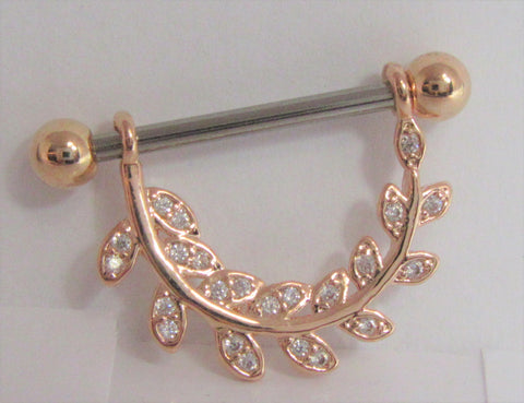 18k Rose Gold Plated Crystal Vine Loop Nipple Hoop Shield Barbell 14 gauge 14g