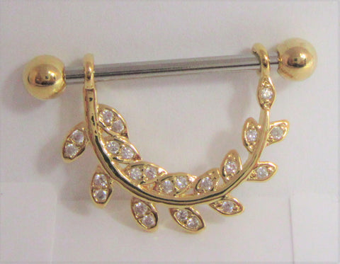 18k Gold Plated Crystal Vine Loop Nipple Hoop Shield Barbell 14 gauge