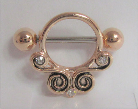18k Rose Gold Plated Ornate Crystal Swirls Nipple Hoop Shield Barbell 14 gauge