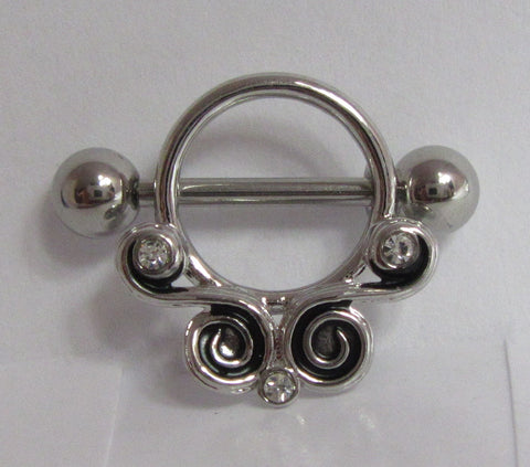 Surgical Steel Ornate Crystal Swirls Nipple Hoop Shield Barbell 14 gauge 14g