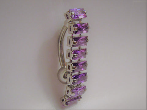Surgical Steel Barbell Purple Crystal Dangle VCH Jewelry Clit Hood Ring 14 gauge