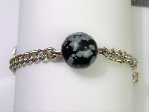 Surgical Steel Black Jasper Stone Sensation Ball  Male Genital Penis Bracelet