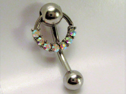 Iridescent Crystal Hoop Dangle Barbell VCH Clit Clitoral Hood Ring 14 gauge