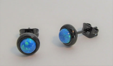 Black Titanium Blue Opal Earring Studs Posts Ear Cartilage 20 gauge 20g