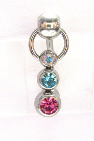 Triple Crystal Ball Dangle Bar VCH Jewelry Clit Clitoral Hood Ring 14 gauge 14g - I Love My Piercings!