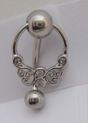 Filigree Butterfly Dangle Clear Gem Barbell VCH Clit Clitoral Hood Ring 14 gauge