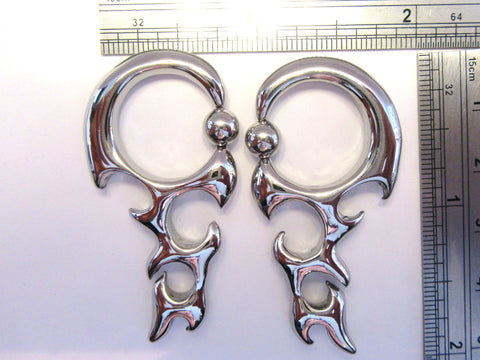 Stainless Surgical Steel Dangle Hoop Earrings 6 gauge 6g - I Love My Piercings!
