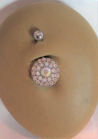 Surgical Steel Loaded Mosaic Tiled Crystal Belly Ring 14 gauge