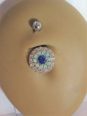 Surgical Steel Loaded Mosaic Tiled Blue Crystal Belly Ring 14 gauge